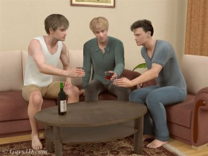3d gay boys get together for a drink